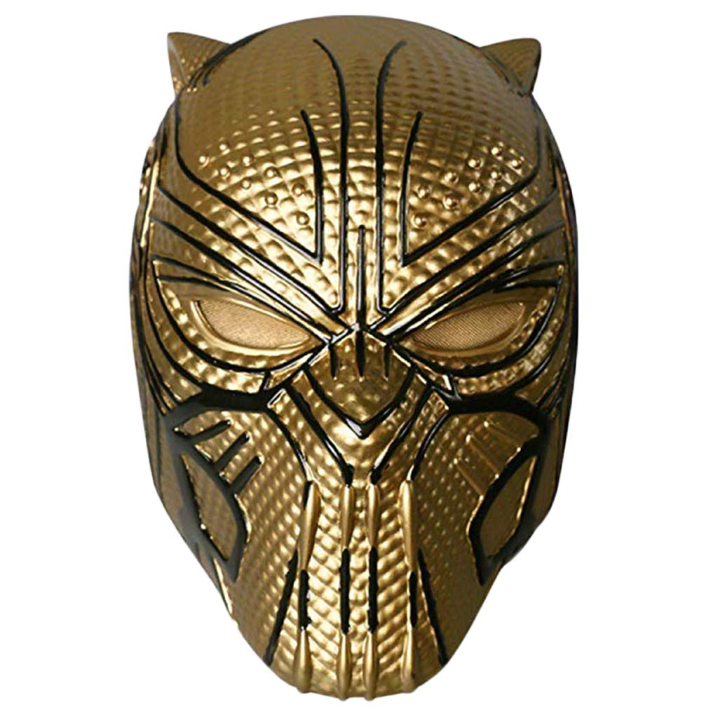 Capitan America  Maschera di Guerra Civile, Maschera Marvel Legends Series nero Panther - Perfetta per Carnevale e Halloween - Costume Adulto - PVC, Unisex,oro-(53cm62cm)