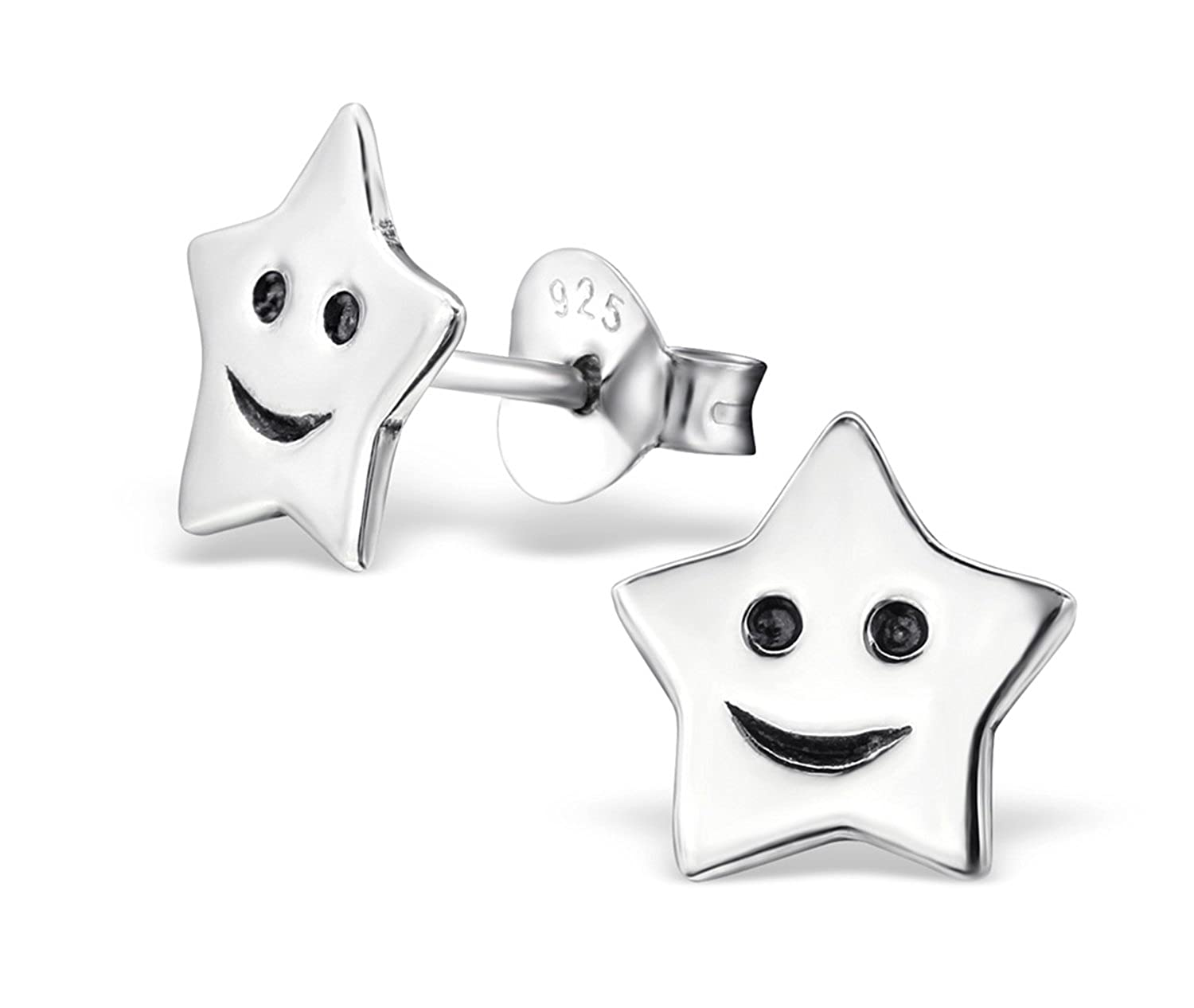 Best Wing Jewelry .925 Sterling SilverSmiling Star Stud Earrings for Children and Teens