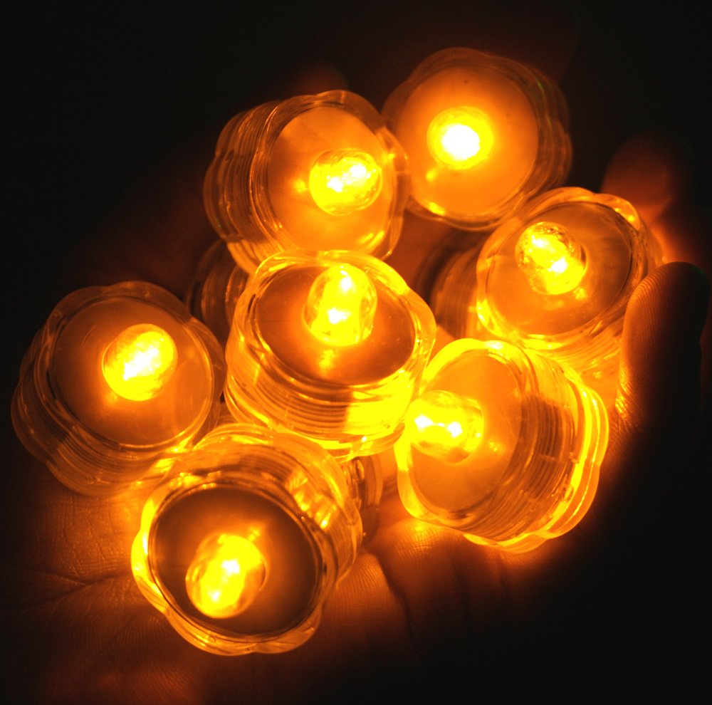 Pack of 96 - Amber Yellow - Submersible Waterproof Underwater Tea Light Sub Lights Battery LED TeaLight ~ Wedding Centerpieces, Decor~BlueDot Trading