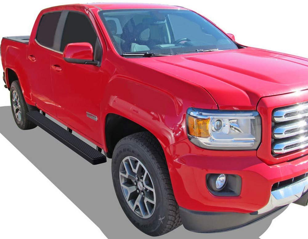 6 Side Steps Black APS Running Boards Custom Fit 2015-2018 Chevrolet Colorado Extended Cab; 2015-2018 GMC Canyon Extended Cab Drop Down Style Nerf Bars