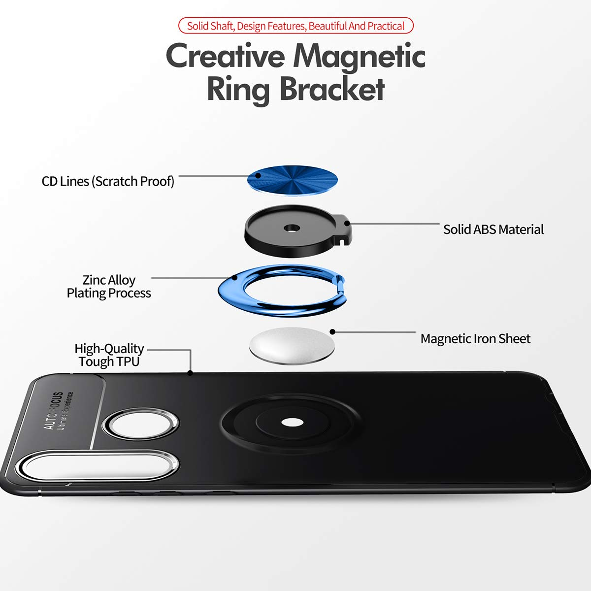 Newseego Compatible with Huawei P30 Lite Case,360 Degree Adjustable Ring Stand,Frosting Thin Soft Protective and Finger Ring Holder Kickstand Fit Magnetic Car Mount for Huawei P30 Lite-Blue+Blue