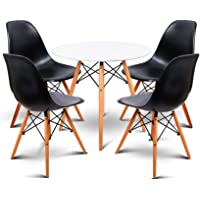 Artiss Round Dining Table and 4 Eames Replica Chairs, 5-Piece Dining Set
