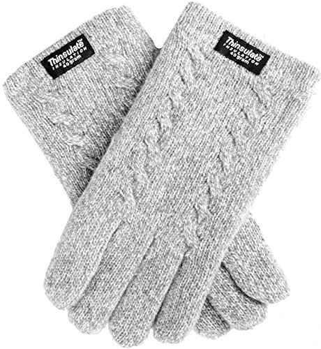 Melange Thermal (EEM Ladies knitted gloves FREYA with plait pattern, Thinsulate thermal lining, 100% Wool, grey-melange S)