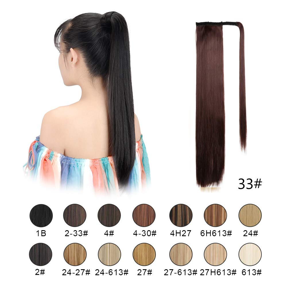 """BARSDAR 26"""" Long Straight Ponytail Extension Wrap Around Dark Auburn Synthetic Hair Extensions One Piece Hairpiece Pony Tail Extension for Women Lady Girl (Long Ponytail Extensions 33#)"""