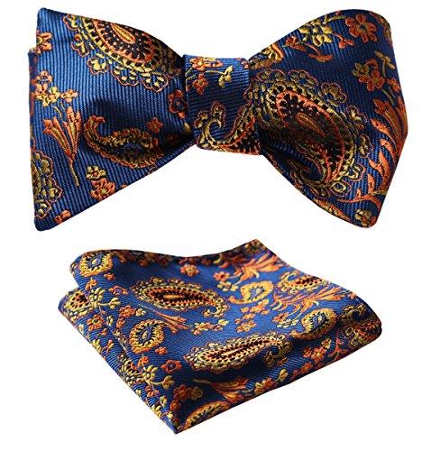 SetSense Men's Paisley Jacquard Woven Self Bow Tie Set One Size Blue / (Woven Design Bow Tie)