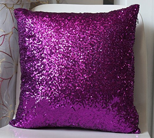 Price comparison product image Solid Color Glitter Sequins Throw Pillow Case Cafe Home Decor Cushion Covers Purple