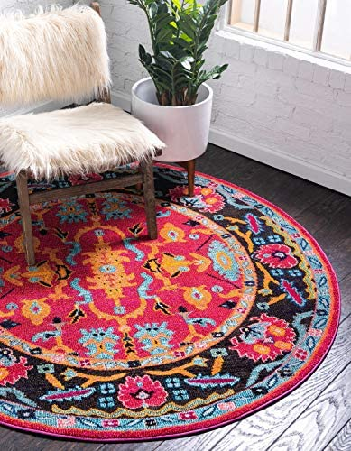 Unique Loom Medici Collection Abstract Botanical Vibrant Colors Pink Round Rug 8 0 x 8 0