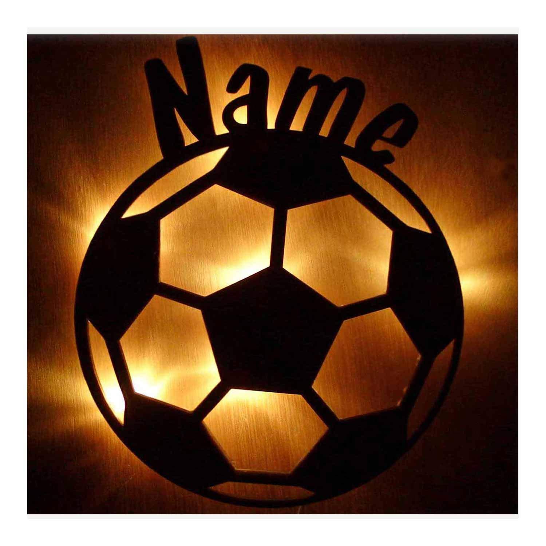 Schlummerlicht24 3d Led Fussball-Motiv Geschenke Nachtlicht Lampe Fu/ßball mit Name f/ür Junge und M/ädchen Fussball-zimmer