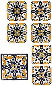 Fuchsia Living Handmade Hand-painted Coaster, Blue & Orange Tile Pattern, Set Includes 6 Coasters & 1 Wooden Box