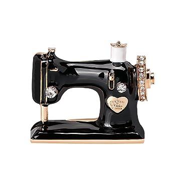 Hosaire 1x Broche de Ramillete y Prendedores Máquina de coser Retro Pin Ramillete Acero Inoxidable para el Banquete de Boda del Cristal size 3.5*2.9 cm: ...
