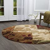 "Cheap Home Dynamix Tribeca Amelia Area Rug | Contemporary Living Room Rug | Leaf and Floral Pattern | Soft and Cozy Texture| Multi-Beige 7'10"" Round"