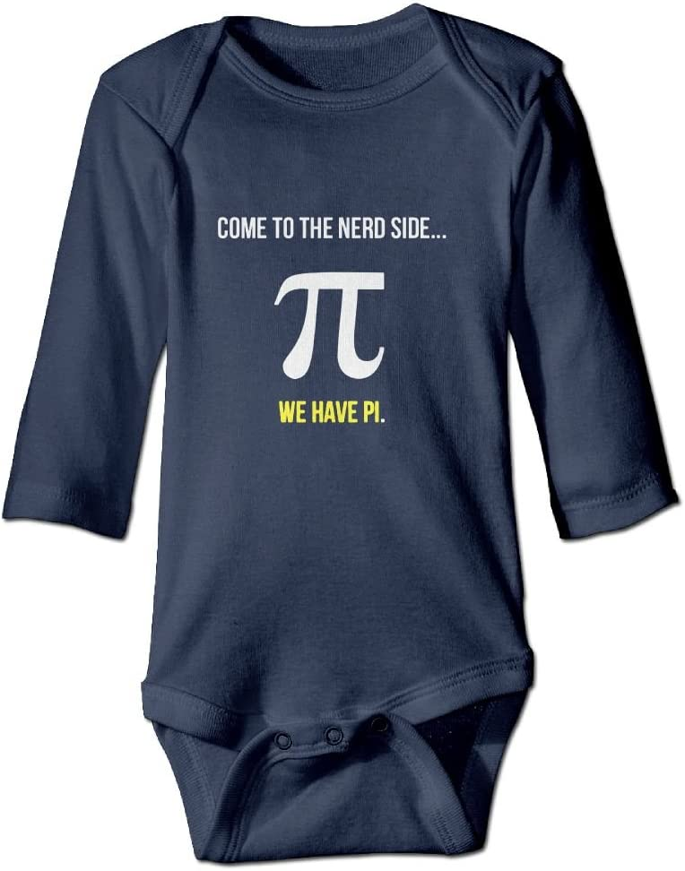 Pi Day Come To The Nerd Side Baby Long Sleeves Climbing Clothes Unisex Triangle Bodysuit Navy Fashion
