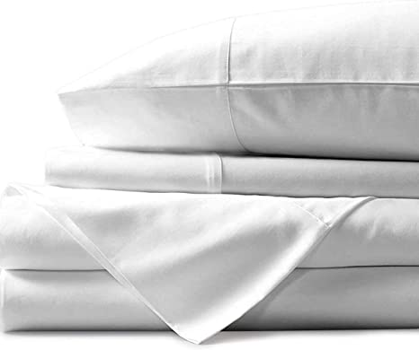 Egyptian Cotton Bed 1 Fitted Sheet /& 2 Pillowcase White Solid 1000 Thread Count