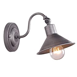 Anmytek Wall Light Fixture Industrial Retro Rustic Loft Antique Wall Lamp Edison Vintage Pipe Wall Sconce Decorative Fixtures Lighting Luminaire (Bulbs not included) (One Light)