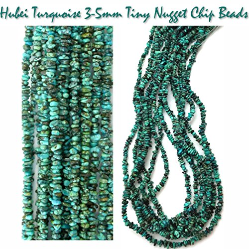 Green Turquoise Nugget Necklace - 2 Strands of Green Anhui Turquoise 6-7mm Chip Nuggets for Jewelry Making Projects, 32 inches total.