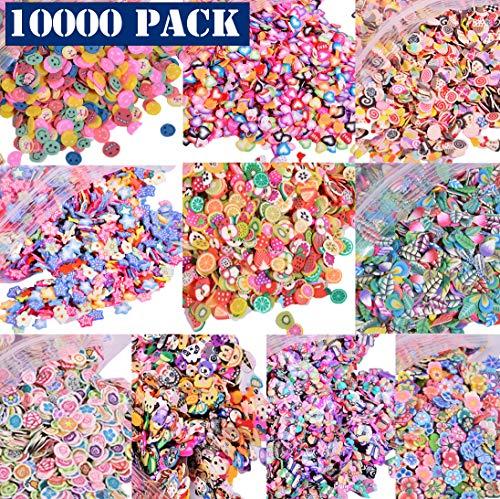 - 10000 PCS 3D Polymer Fimo Slices DIY Nail Art Slime Supplies Charms Slime Making Kit Decoration Arts Crafts(Fruit,Smiling face,Loving Heart,Plum Blossom,Pentagram,Cake,Cartoon,Animal,Feather)