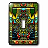3dRose lsp_24841_1 Psychedellica 2 Hippie Flowerpower Retro Fractal Psychedellic Red Yellow Blue Retro Oriental India Single Toggle Switch