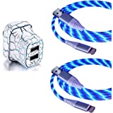 EEkiiqi 2 Packs Led Flowing USB Charger Cable EL Light up Phone Charger Cord with 2.1A Dual USB Wall Charger Led Light Up USB Charger Glow in The Dark for Phone XS Max/8 Plus 7 7 Plus (Blue)