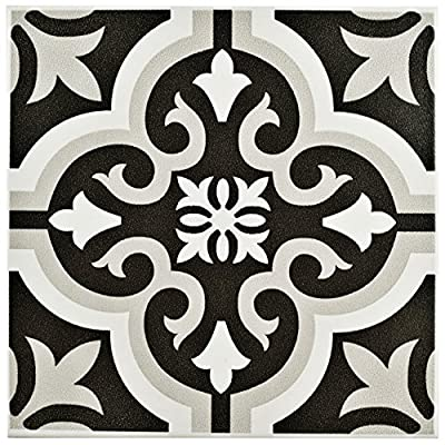 "SomerTile FTC8BRCL Bracara Ceramic Floor and Wall Tile, 7.75"" x 7.75"", Black/Grey/White"