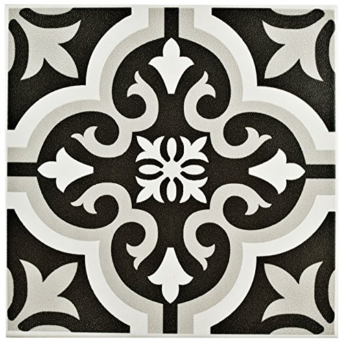 White Porcelain Floor Tiles (SomerTile FTC8BRCL Bracara Ceramic Floor and Wall Tile, 7.75 x 7.75-Inches, Black/Grey/White, Pack of 25)
