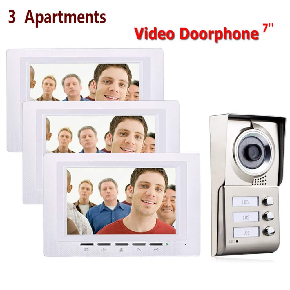 7-Inch Video Phone Intercom System, Waterproof 3 Apartment Access Control System, IR-Cut HD 1000TVL Camera, 3 Buttons   3 Displays