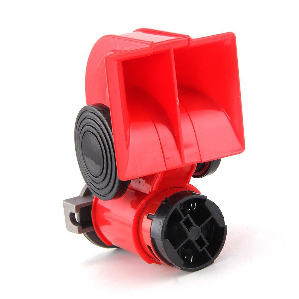 Allright 12V Kompressor Fanfare 130dB Druckluft Horn Hupe Rot Kompressor Lufthorn fü r LKW PKW Boot eom