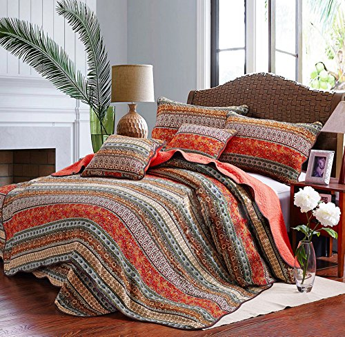 mixinni Boho Style Southwest Bedding Stripe 3-Piece Patchwork Bedspread/Quilt Sets 100% Cotton-Queen,Red