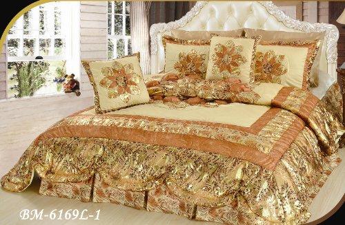 Polyester Victorian Quilt - DaDa Bedding BM6169L-1 3-Piece Patchwork King Midas Quilt Set, Twin, Gold