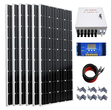 ECO-WORTHY 1000 Watts Off Grid Solar Panel Kit: 6pcs 160W Mono Solar on