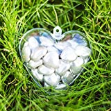 x20 Heart Shaped Empty Clear Bauble Fillable Christmas Decorations (60mm) Wedding Favours Valentine Decoration Xmas