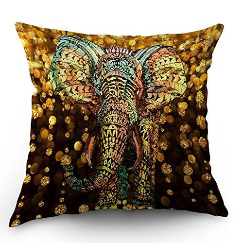 Moslion Elephant Pillow Case by Aztec Gold Elephant with Gold Rain Shine Flicker Glow Jewelry Stones Light Throw Pillow Case 18 x 18 Inch Cotton Linen Cushion Cover for Men Women Kids Gold Black