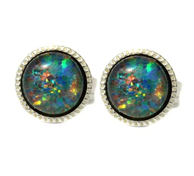 418cbed98 Black Moon® 5mm Sterling Silver Fiery Black Opal Triplet Stud Earrings with  Red Blue Gold Green Violet Fire: Amazon.co.uk: Jewellery