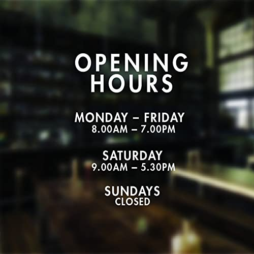 Opening hours sign opening times sign for shop window sticker v14 open closed sign business hours