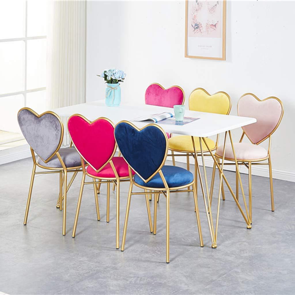XIAOZHUZHU toalettbord pall kreativ kärlek form makeup stol flanell matstol gyllene fåtölj dekoration lounge stol metall järn möbler, rosa flanell Pink Flannel