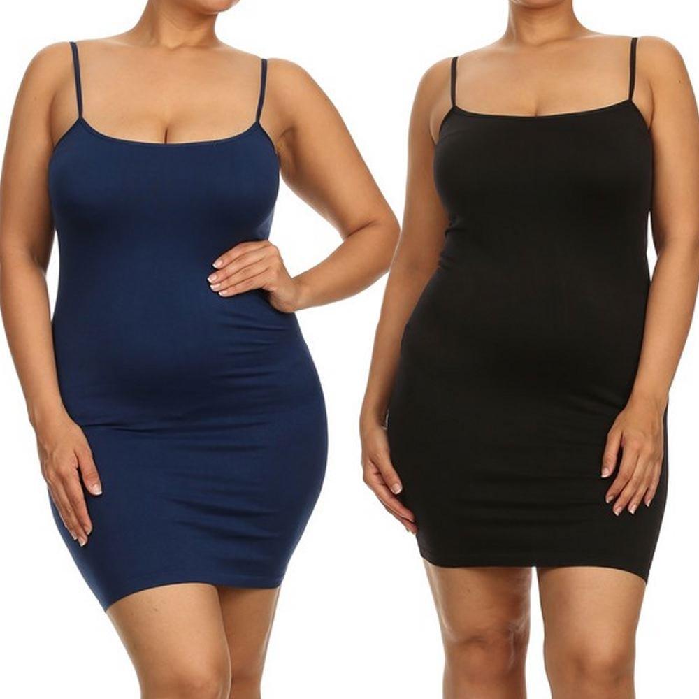 Yelete Women's Plus Size Nylon Seamless Long Cami Slip Dress