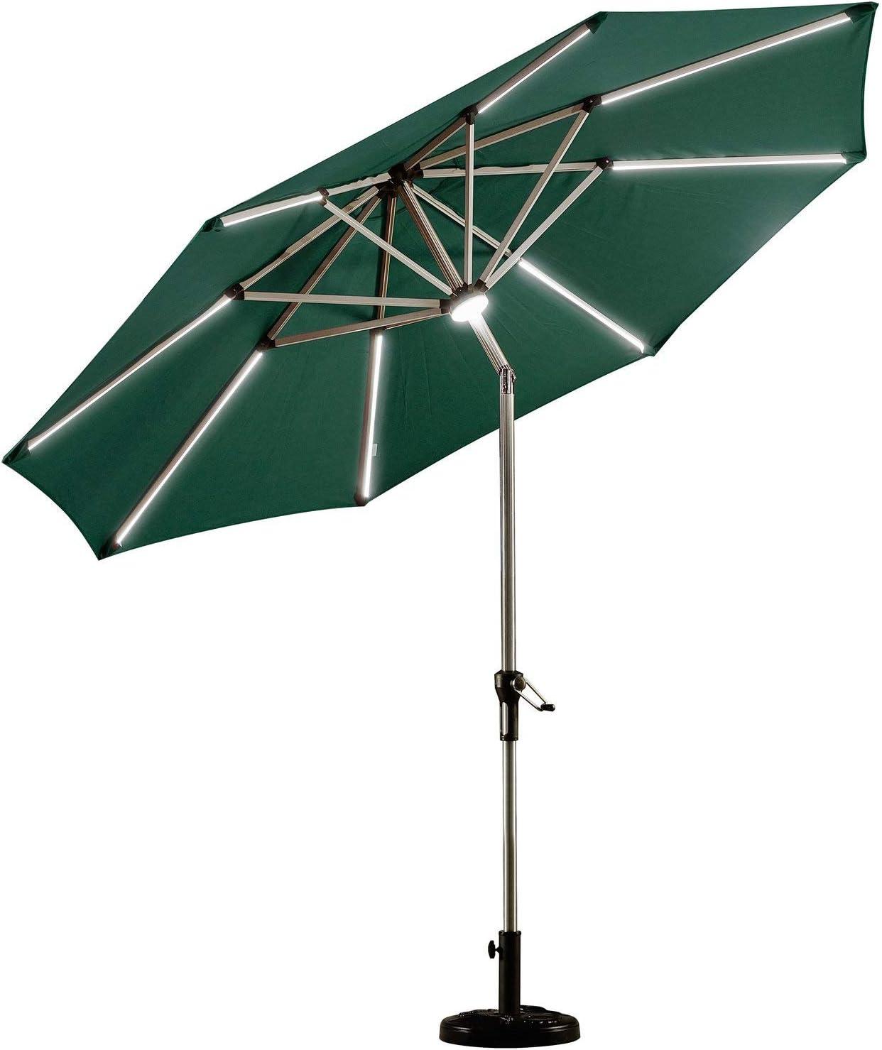 PURPLE LEAF 9 Feet Solar Powered LED Lighted Patio Umbrella