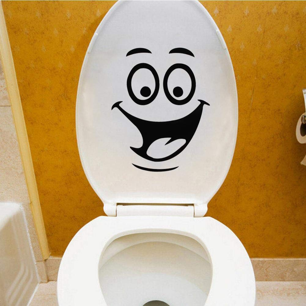 FidgetGear Funny DIY Bathroom Toilet Sticker Removable Sticker Smile Face Style Bathroom