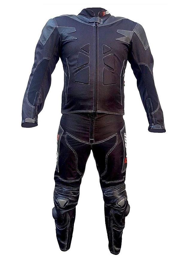 BIESSE - Traje de moto para adulto de piel y tela, divisible en 2 ...