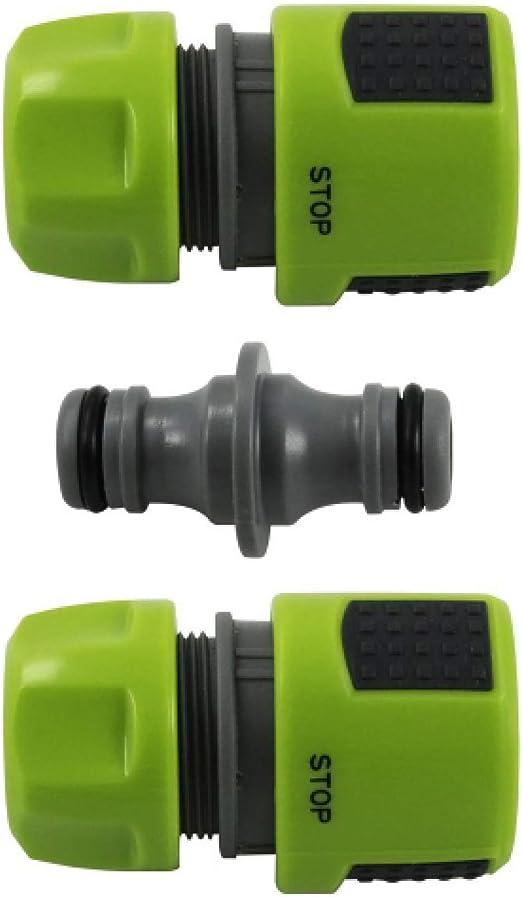 com-four® Conjunto de 3 Conectores de Manguera de jardín con función de Parada - Parada de Agua, Conector - Acoplamiento de Manguera - 13 mm, 1/2