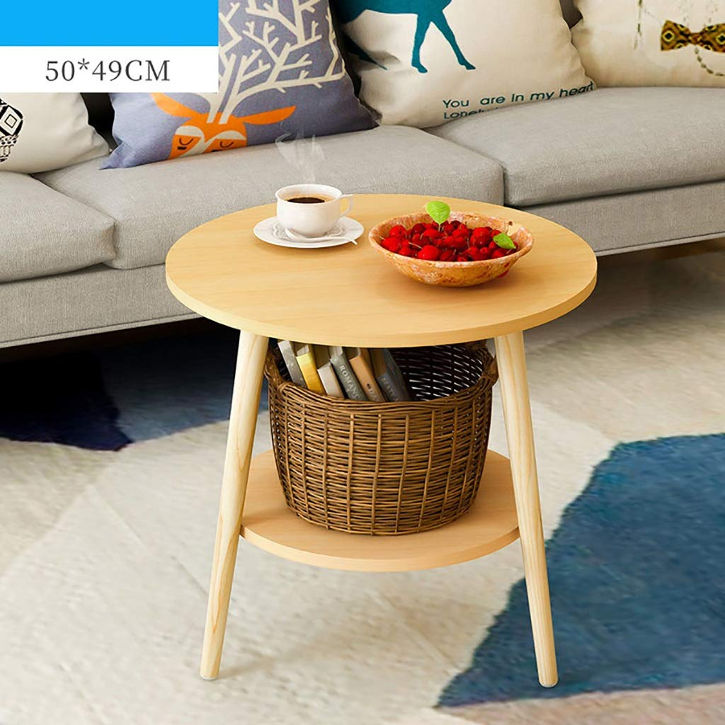 Garde Small Round Table, Simple Mini Bedroom Modern Household Small Coffee Table, Solid Wood Creative Leisure Negotiation Small Table (Color : A, Size : 5049CM) by Garde