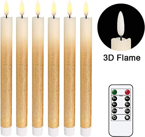 Wondise Remote Flameless Taper Candles Flickering with Timer, 6 Pack Gold LED Taper Window Candles Battery Operated Dinning Wedding Christmas Taper Candles 0.78 x 9.64 Inches