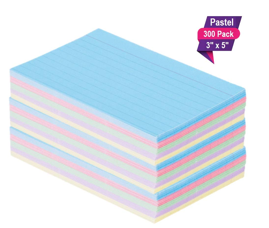 1InTheOffice Index Cards 3 x 5 Ruled Pastel Colored, Assorted 300/Pack by 1InTheOffice