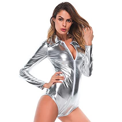 1255f61ec33 Image Unavailable. Image not available for. Color  Women Plus Size Sexy  Artificial Leather V Neck Bodysuit Skinny ...