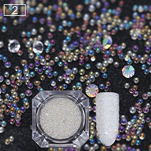 BONNIESTORE 1 Box Micro Crystals Nails 3D Nail Decoration AB Caviar Beads White Mini Glass Bubble Manicure Nail Art DIY Decoration (#2)