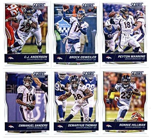 2016 Score Denver Broncos Veterans Team Set of 12 Football Cards: Peyton Manning(#95), Brock Osweiler(#96), C.J. Anderson(#97), Ronnie Hillman(#98), Demaryius Thomas(#99), Emmanuel Sanders(#100), Owen Daniels(#101), Vernon Davis(#102), DeMarcus Ware(#103), Von Miller(#104), Brandon Marshall(#105), Evan Mathis(#106) in Protective Snap Case