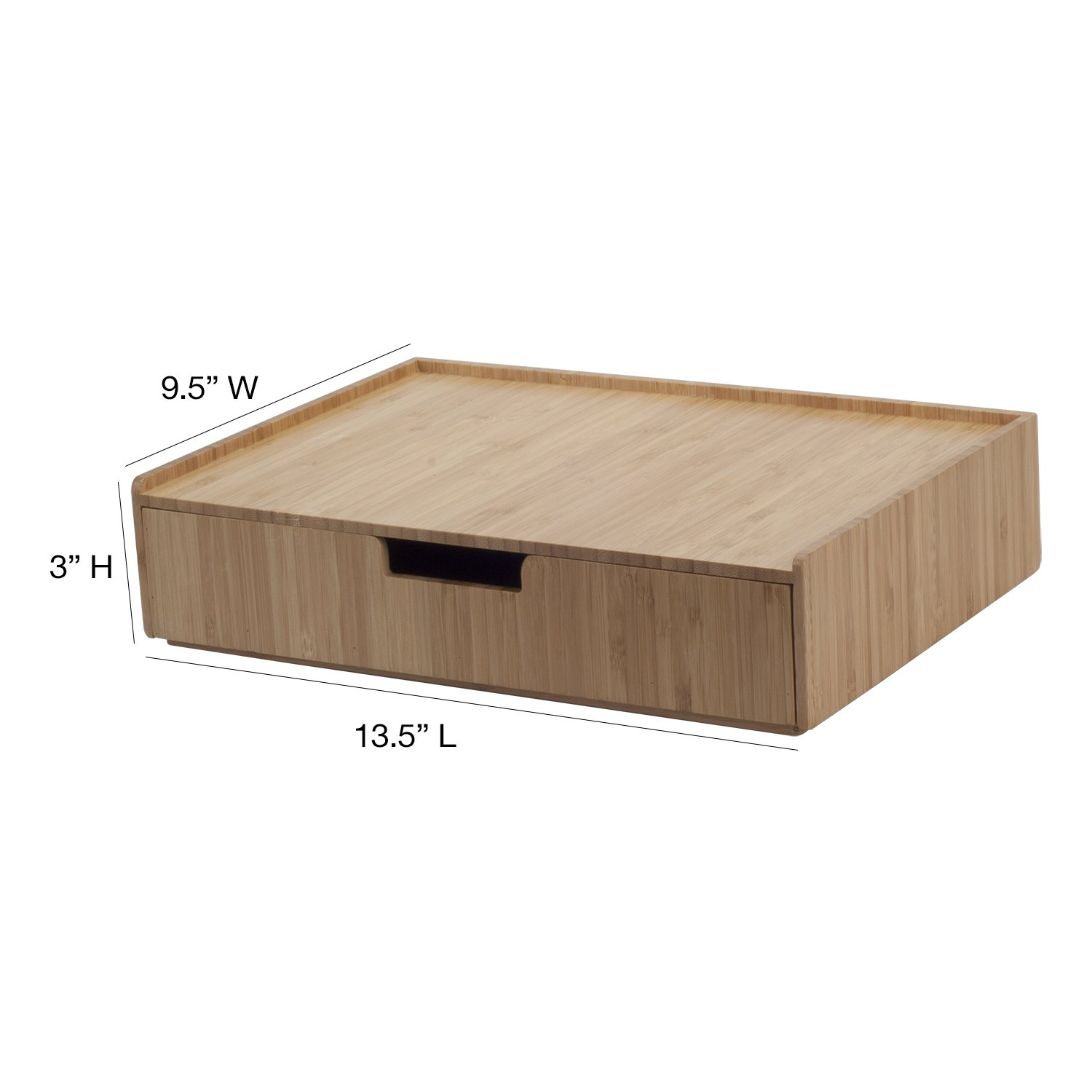 7 Slot w//Drawer Combo Storage for Office Supplies /& Stationary Items Bamboo Desktop File Folder Organizer
