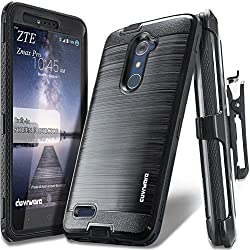 COVRWARE ZTE ZMAX PRO [IRON TANK Series] Built-in [Screen Protector] Heavy Duty Full-Body Rugged Holster Armor [Brushed Metal Texture] Case [Belt Clip][Kickstand] For ZTE ZMAX PRO / ZTE Carry, Black