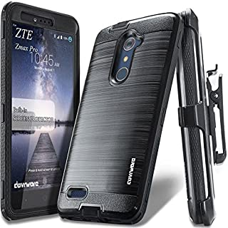 COVRWARE [Iron Tank] case Compatible with ZTE ZMAX PRO/ZTE Carry, with Built-in [Screen Protector] Full-Body Rugged Holster Armor Case [Brushed Metal Texture Design][Belt Clip][Kickstand], Black