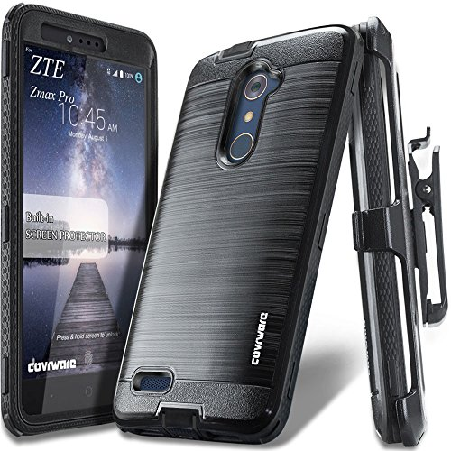 COVRWARE ZTE ZMAX PRO [IRON TANK Series] Built-in [Screen Protector] Heavy Duty Full-Body Rugged Holster Armor [Brushed Metal Texture] Case [Belt Clip][Kickstand] For ZTE ZMAX PRO / ZTE Carry, Black (Zte Zmax Cell Phone)