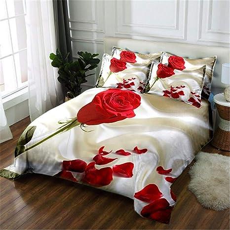 3e850e8ea27 Amazon.com  Twin Full King Queen Girls Wedding Rose Bedding Set ...